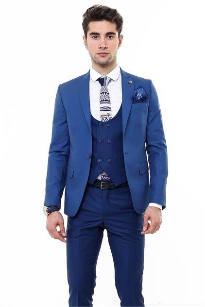 Yelekli Çift Renk Kombinli Takım Elbise (TK_62110_39_22)