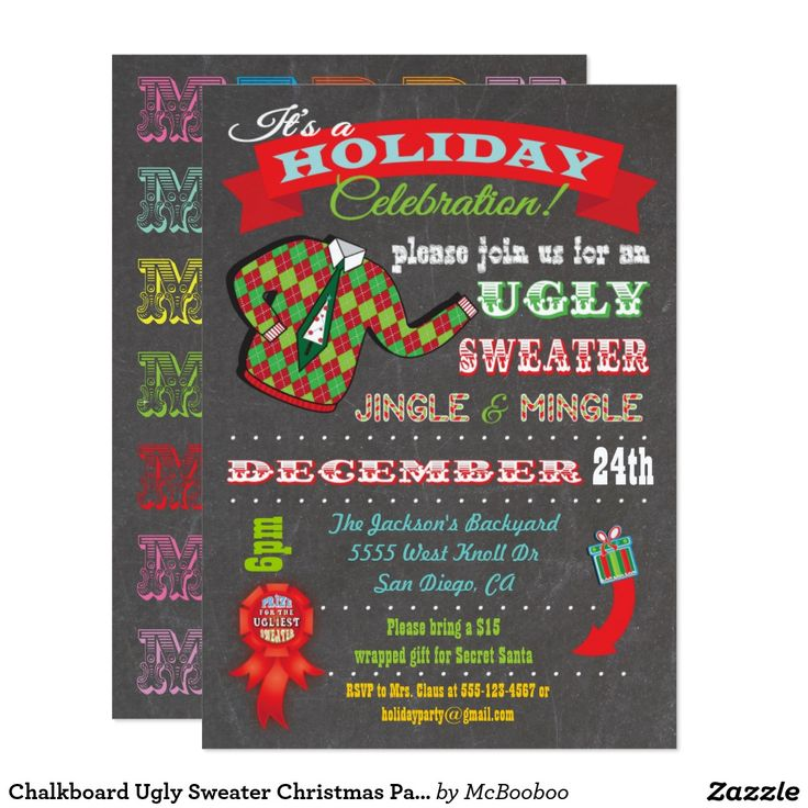 967 best christmas party invitations images on pinterest christmas chalkboard ugly sweater christmas party invitation stopboris Choice Image