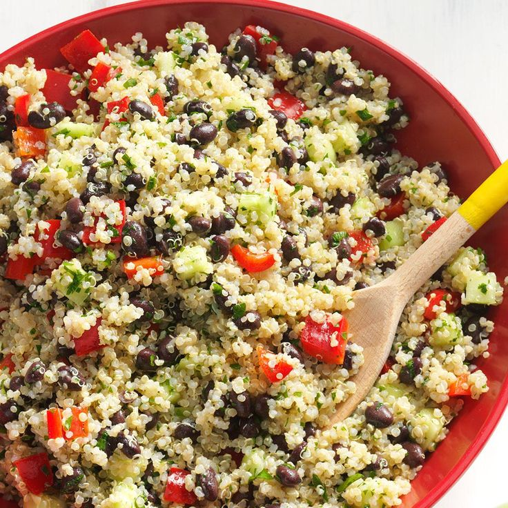 Perfect for potlucks, this Quinoa Tabbouleh Recipe from Taste of Home is a refreshing dish!