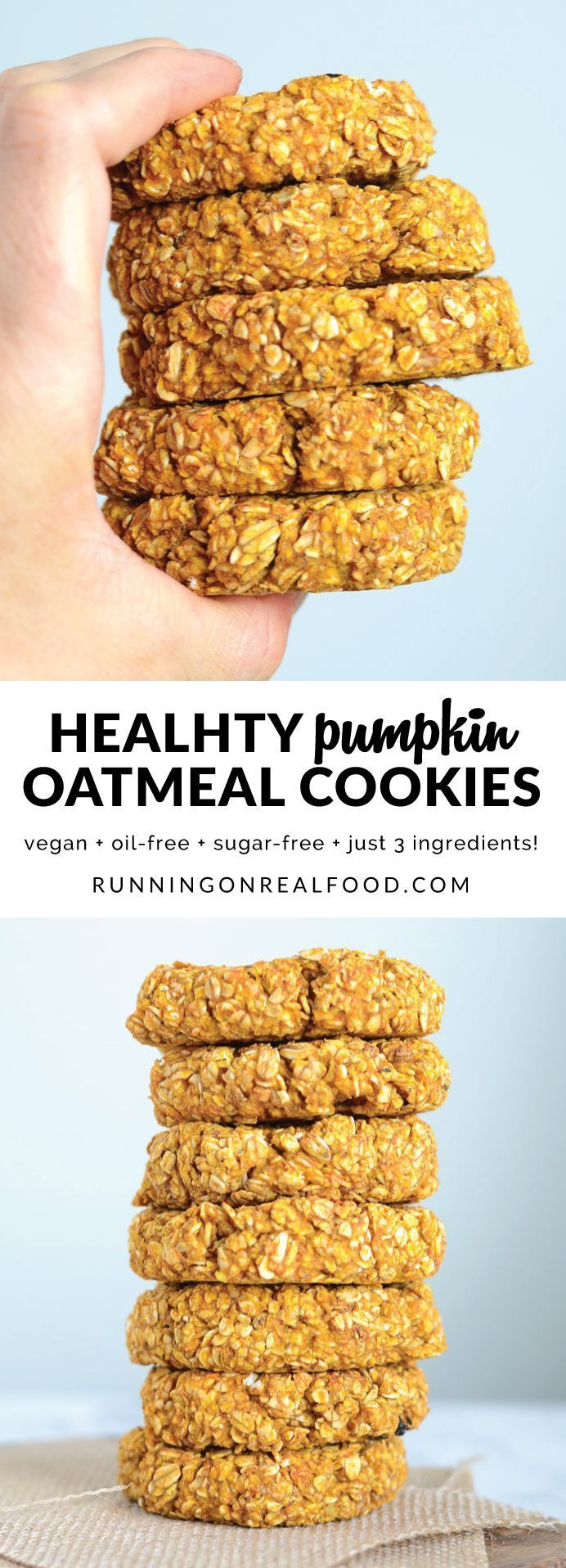 You only need 3 simple ingredients to make these extra hearty, healthy, wholesome and satisfying pumpkin oat cookies. They're ideal before or after a workout for a natural energy boost. Try adding in pumpkin pie spice, walnuts, chocolate chips, raisins or coconut to take them up a notch!  #pumpkincookies #healthycookie #pumpkin