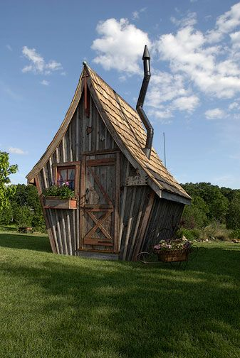 whimsical garden sheds, playhouses, guest cottages, and out houses - builder in Minnesota, but also inspiration for DIY