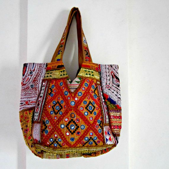 Buy Indian Banjara Bag Patchwork Bag, Tribal Bag, Gypsy Bag, Ethnic Boho, Tote Antique Bags, Authentic Designer bags Ethnic large bollywood bags by elephantsofindia. Explore more products on http://elephantsofindia.etsy.com