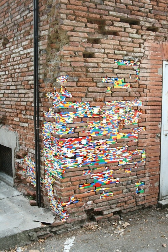 Lego patchwork which started as an art installation in Italy but now is open to worldwide contributions