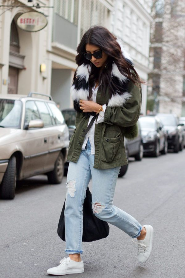 Military Trend: Kayla Seah is wearing a vintage army green jacket