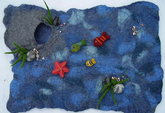 Like the hole into the water Felted Playscape SealifePlaymatWaldorf StyleWoolMade by KensaWool.