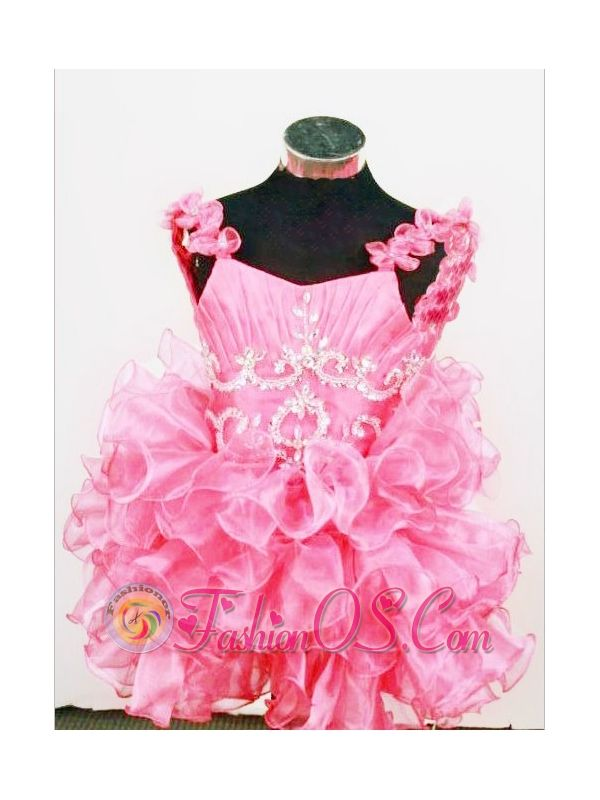 Cute A-Line Straps Mini-length Hot Pink Organza Beading Little Girl Pageant Dresses    http://www.fashionos.com  http://www.facebook.com/quinceaneradress.fashionos.us   The cute off-the-shoulder straps ball gown little girl dress stands out for the beautiful beaded and ruched bodice and the off-the-shoulder straps accented with flowers. The full skirt features tiers of ruffles.