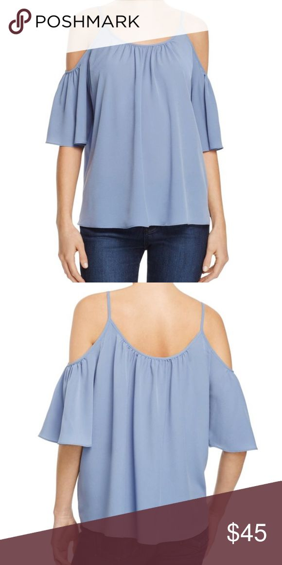 French Connection Cold Shoulder Top FRENCH CONNECTION's interpretation of the bare-shoulder trend takes shape with this romantic cutout top. Worn once for a photo shoot, in great condition. scoop neck and back, fixed shoulder straps Shoulder cutouts, draped three-quarter sleeves French Connection Tops