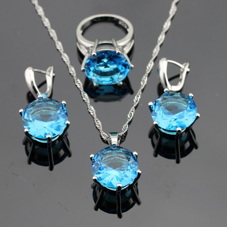 925 Silver Huge Round Blue Topaz Jewelry Sets For Women —$36.99(Save 26%!) Item Type:Jewelry Sets Fine or Fashion:Fashion Included Additional Item Description:Pendant/Necklace Chain/Ring/Earrings…