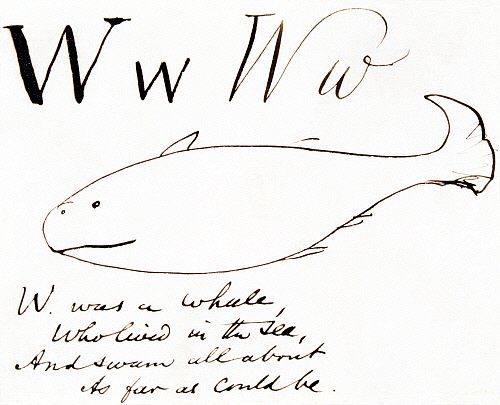 W was Whale, who lived in the sea..., by Edward Lear. England, 19th century