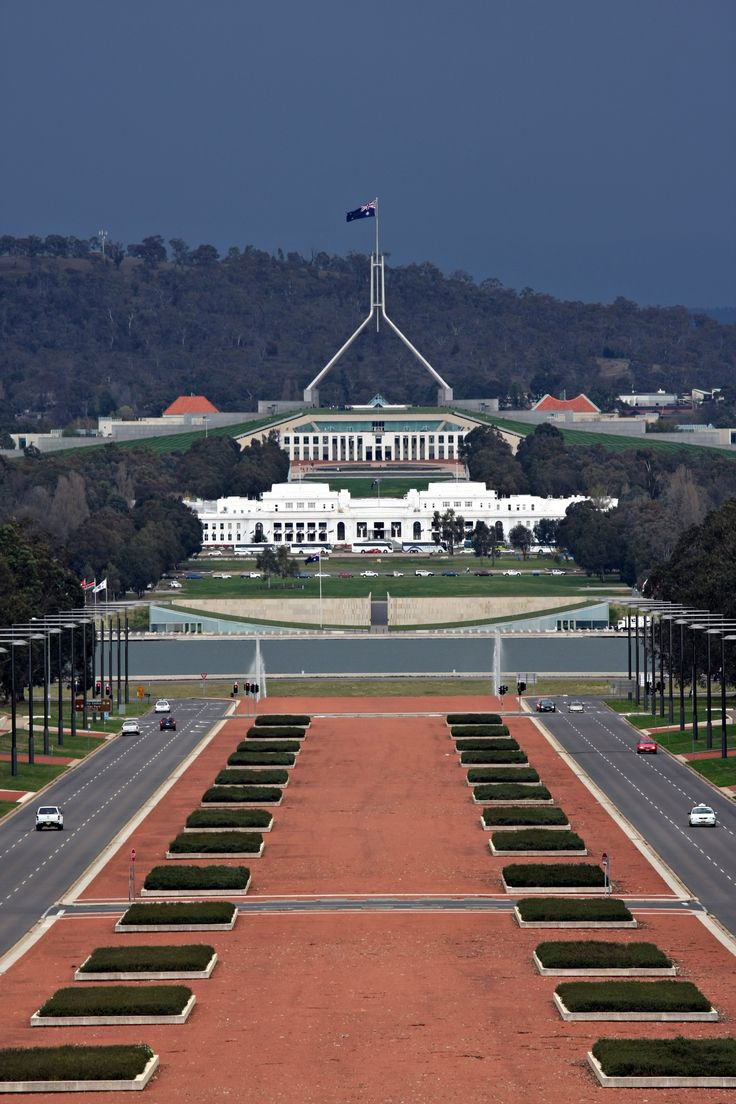 Anzac Avenue & Parliament house, Canberra, Australia.