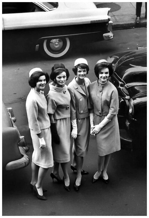 Four models wearing The Jackie Look - Oleg Cassini suits and pillbox hats, New York City, 1961. Photo by Yale Joel.