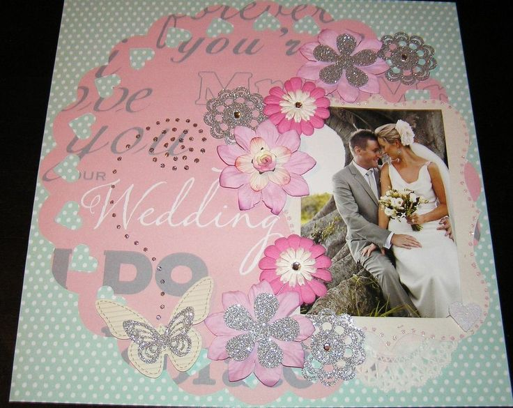 "SCRAPBOOK PAGE HANDMADE 12 X 12....""Wedding layout"""