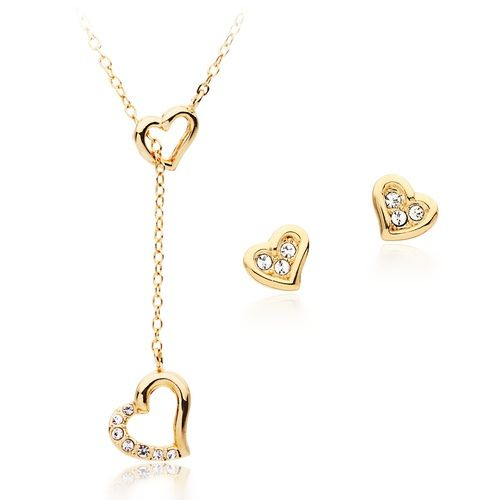 Heart Lariat Pendant and Earring Set Gold Plated