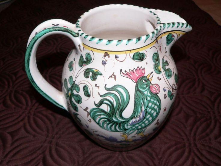 Vintage Deruta Italian Pottery Majolica Pitcher Teal