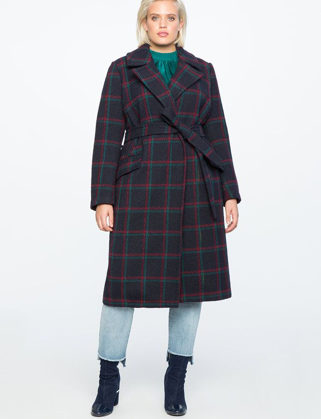 Plaid Tie Waist Robe Coat | Women's Plus Size Coats + Jackets 2