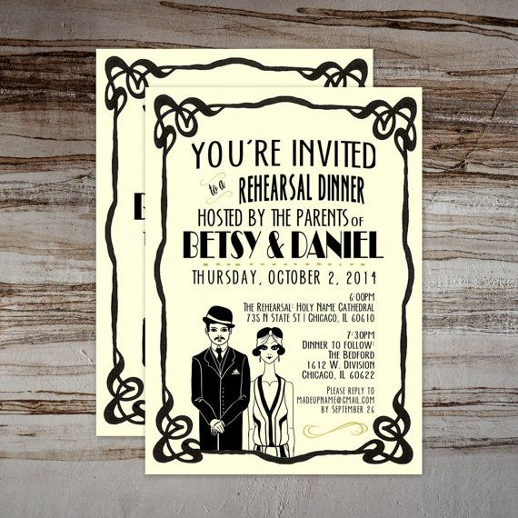Art Deco Rehearsal Dinner Invites Great by PAPERandPASTICHE