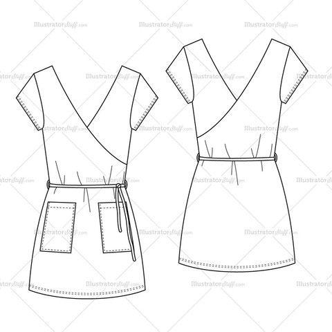 Woman's Stretch Short Summer Wrap Dress Fashion Flat Template