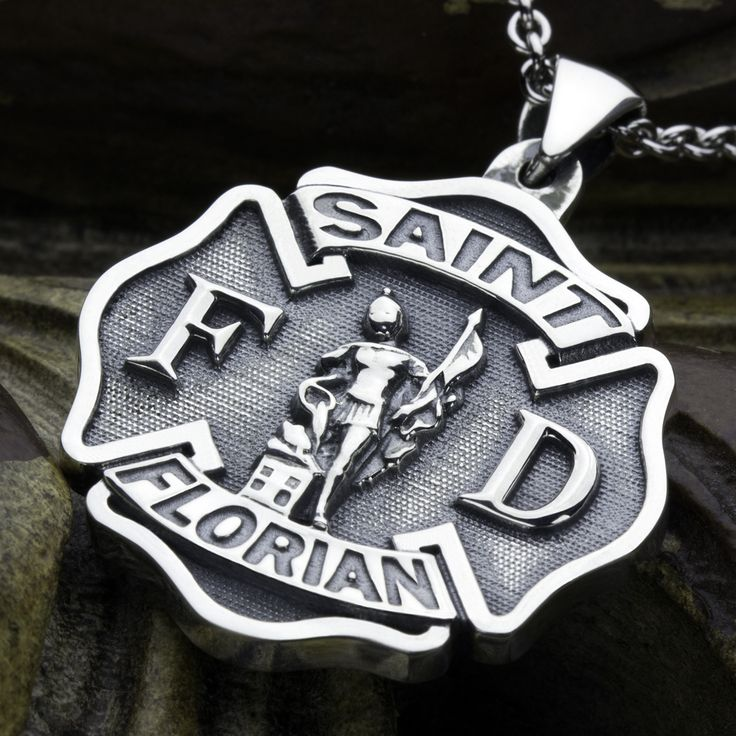 Saint Florian Patron Saint of Firefighters Maltese Cross Sterling Silver Necklace Pendant David Daffer Designs  #daviddafferdesigns