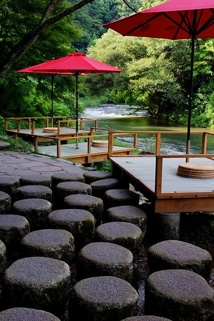 Kawadoko 川床 - Wooden terrace built over the river to enjoy meals in the cool breeze, Japan.