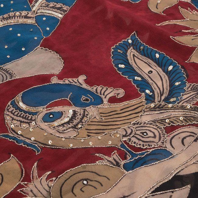 Black Hand Painted Pen Kalamkari Georgette Saree With Floral Motifs & Sequin Work - AVISHYA.COM
