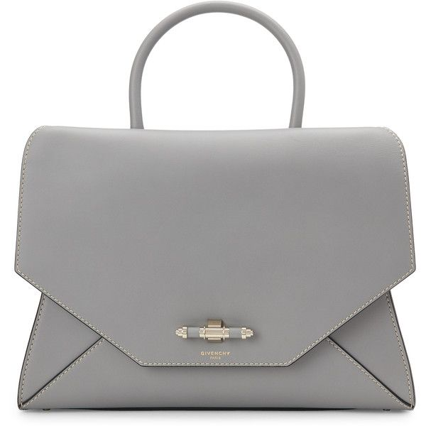 Givenchy Grey Obsedia Medium Satchel (€1.705) ❤ liked on Polyvore featuring bags, handbags, white, grey purse, studded handbags, grey leather purse, studded leather purse and givenchy handbags