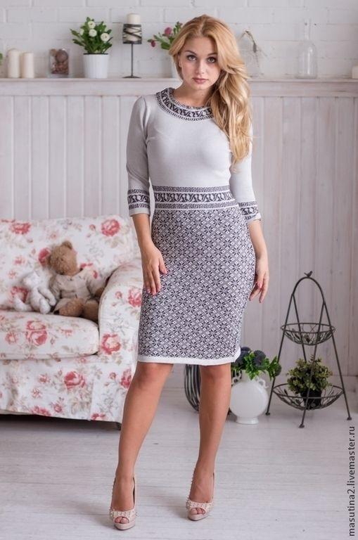 """Купить Платье """"Лапландия"""" - серый, серое платье, вязаное платье, теплое платье, жаккардовое платье"""