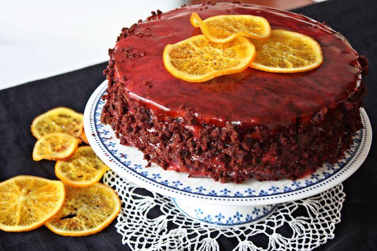 Red&brown velvet cake z kremem pomarańczowym i polewa lustrzaną