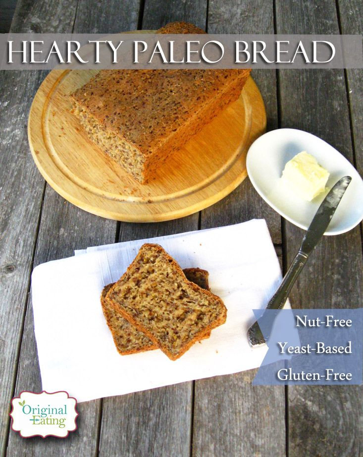 At Original Eating this hearty Paleo bread machine recipe can be made by hand too! Nut-free, yet yeast-based it's the closest thing to gluten bread!