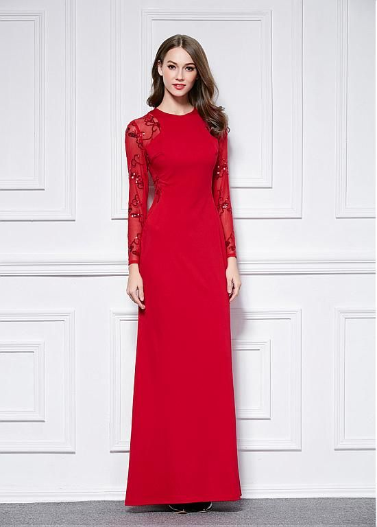 Magbridal In Stock Stretch Satin Jewel Neckline Sheath Evening Dresses With Sequins Dresses Ball Dresses Evening Dresses
