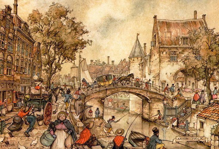 The Coach on the Bridge - Anton Pieck