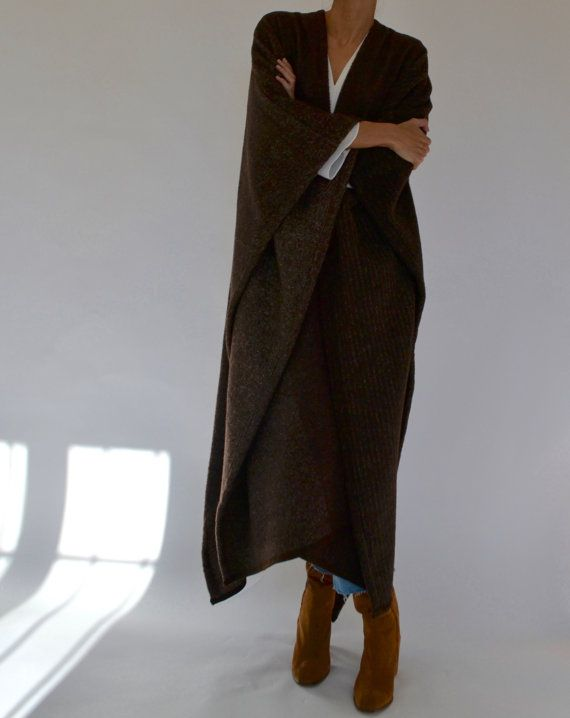 Brown wool maxi length cape poncho / long poncho / long cape  The signature piece for this winter - the maxi poncho. This one is made with premium quality pure overcoat wool from the Ermenegildo Zegna mill in Northern Italy. This beautiful soft wool features three seamless patterned panels: one speckled, one solid brown and one pinstriped :)  -super soft and warm -wear it loose, or wrap it and belt it -doesnt slip off your shoulders - the wool has a beautiful texture -heavy in warmth but…