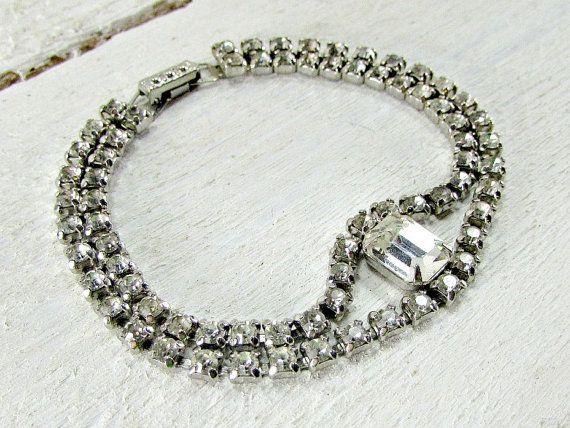 Vintage LA-REL Rhinestone Bracelet, Clear Crystal Bracelet, Double Multi-Strand Bracelet, Wedding Bridal Bracelet, 1950s Vintage Jewelry by RedGarnetVintage