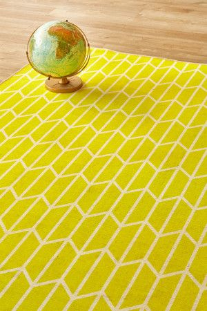 Geo Chevron Sunshine: 1.5 X 2.3 metres. Printed nylon. Please note that, as these printed rugs are mad...