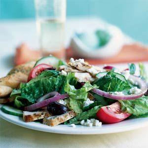 greek salad with grilled chicken from cooking light - the dressing is excellent!  I sub balsamic for the red wine vinegar: Salad Recipes, Chicken Salads, Cookinglight Com, Food, Cooking Lights, Chickensalad, Grilled Chicken Recipes, Greek Chicken, Greek Salad