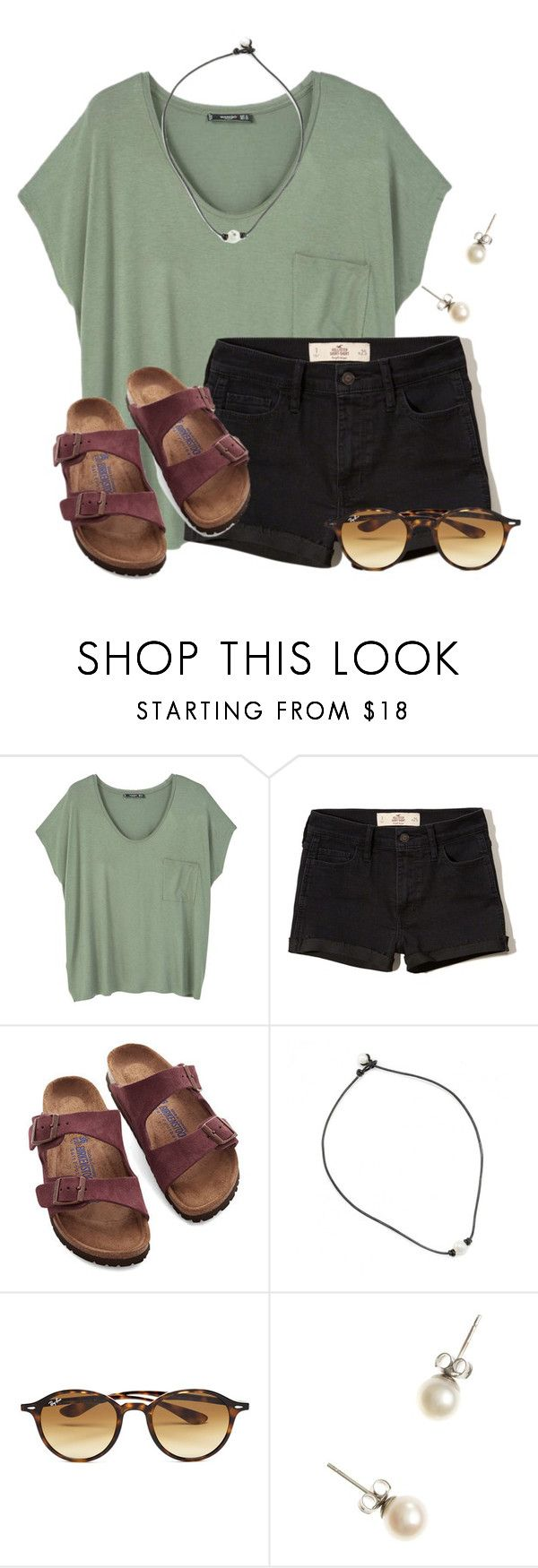 ~she has that sparkle in her eyes~ by flroasburn ❤ liked on Polyvore featuring MANGO, Hollister Co., Birkenstock, Ray-Ban and J.Crew