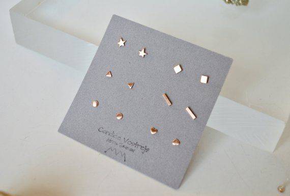 5a56643d Six Pairs of Stud Earrings, Rose Gold Filled Stud Earrings, Gold ...