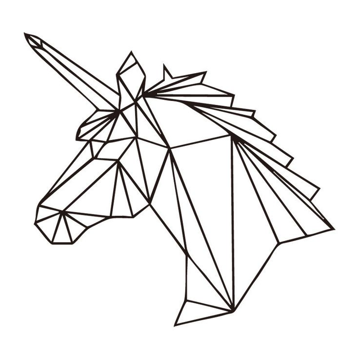 Geometric Unicorn Wall Decal Sticker Unicorn Room Wall Mural Sticker Removable