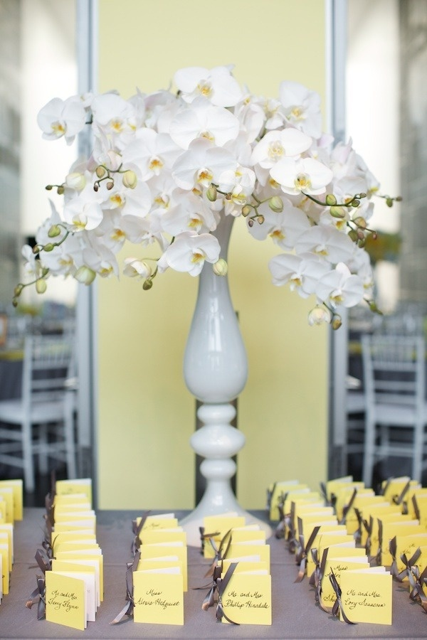 Simply Jessie Photography. Vale of Enna flowers. Phalaenopsis. White. Escort Card Table. Chicago Wedding.