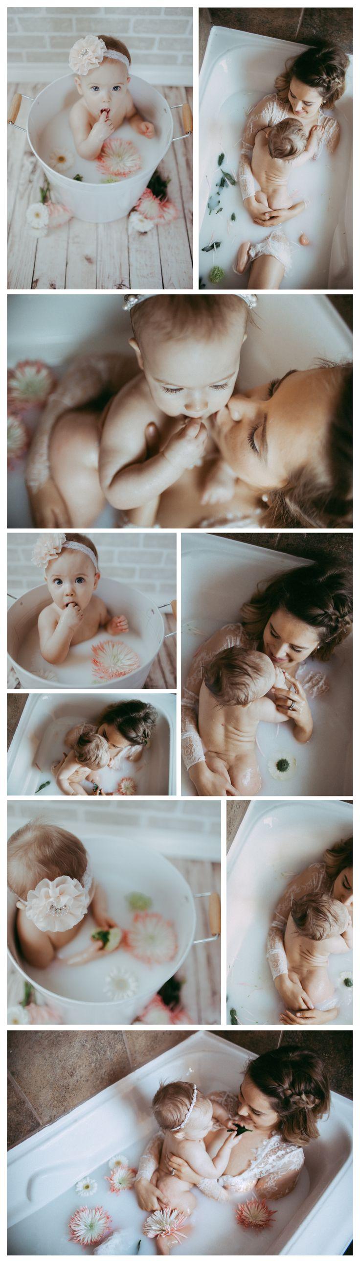 9 month milestone session milk bath mommy & me session Brina Debalinhard Photography