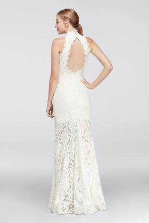 Blooming floral lace and fluttery eyelash trim add a romantic element to this figure-hugging, open-back dress.  By Betsy & Adam  Nylon, spandex  Back zipper; partially lined  Spot clean  Imported