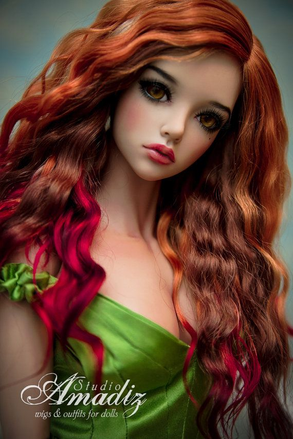 Sensual red natural angora wig for BJD by AmadizStudio on Etsy