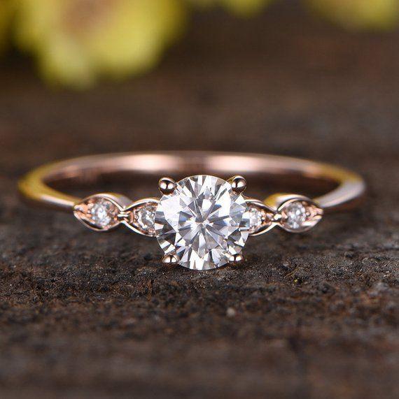 Charles & Colvard Moissanite Engagement Ring,Bridal Ring,14k Rose Gold Diamond Wedding Ring,5mm Round Gemstone Solitaire Ring
