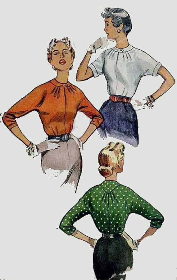 1950s Vintage Sewing Pattern Simplicity 4610 ROCKABILLY Blouse with sleeve variation Size 12 Bust 30