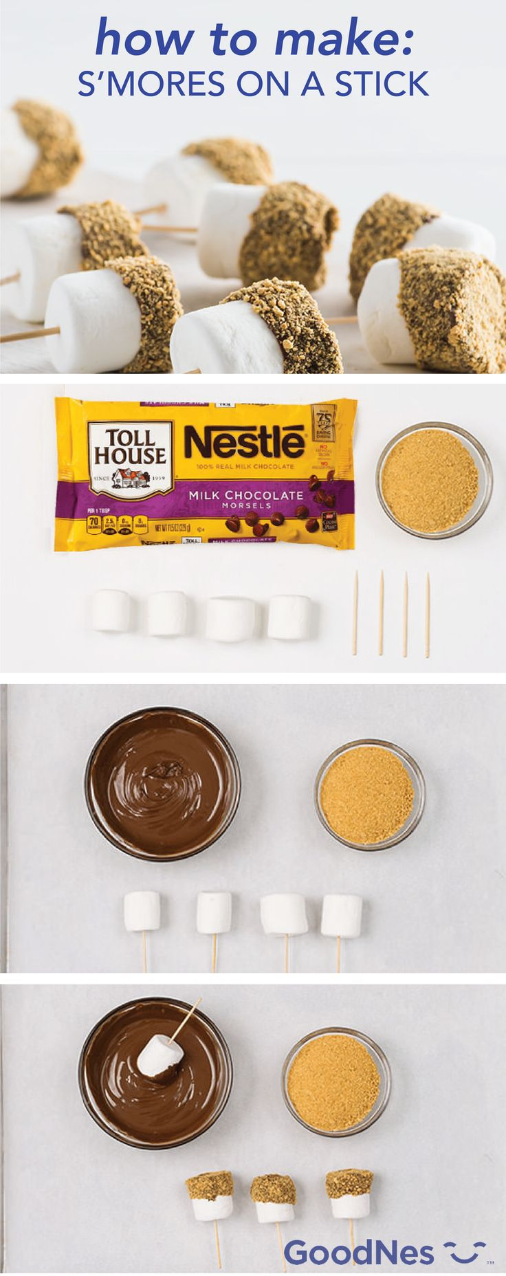 You don't need a fire to make some s'mores! Dip marshmallows into melted Nestlé® Toll House® Milk Chocolate Morsels and roll them in graham cracker crumbs. This no-bake treat is quick, easy and budget-friendly, making for the perfect dessert or after school snack.