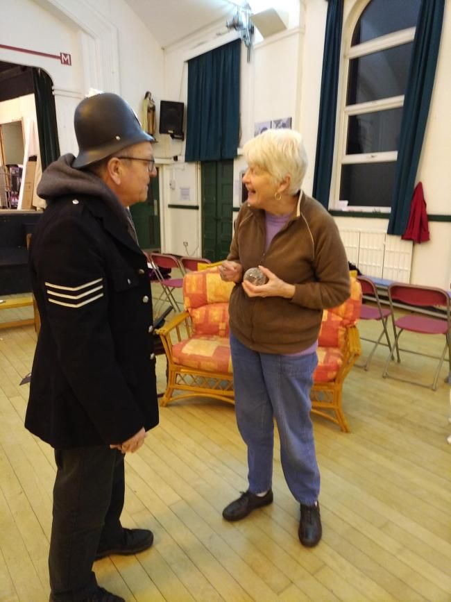 Frank Oates playing Martin Charlton, an accountant who is given the part of Sgt Barraclough in the murder/mystery and Barbara Williamson who is Agatha Crusty