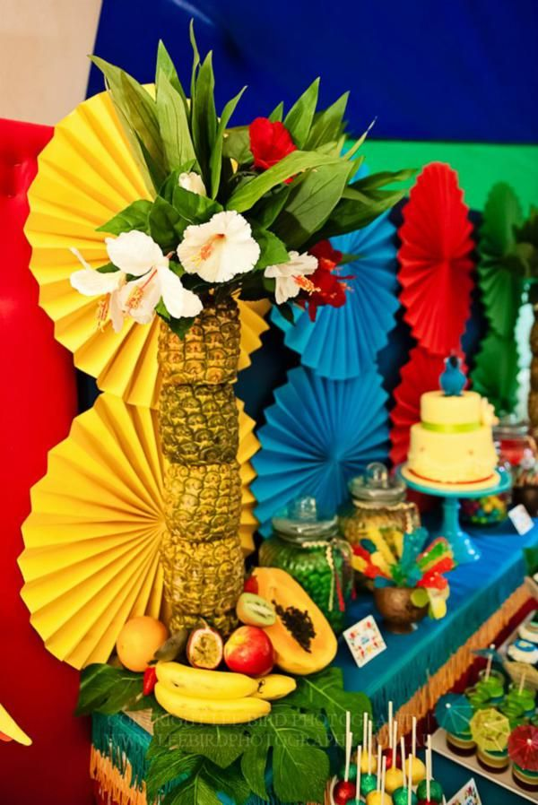Rio themed party idea. Bright colors, tropical birds and fruit make this great for birthday or any festive celebration.