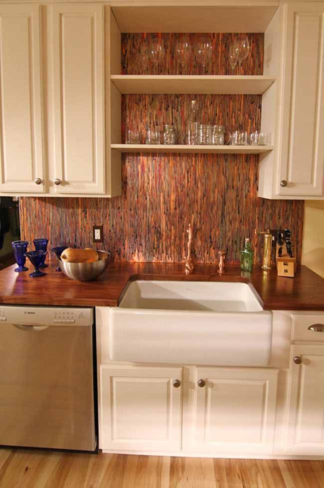 Gorgeous Copper Color Backsplash Sheets Kitchens