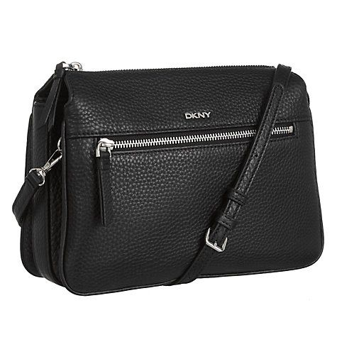 Buy DKNY Tribeca Soft Leather Across Body Bag, Black Online at johnlewis.com