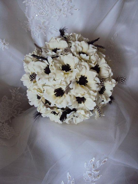 Silk Ivory Anemones Wedding Bouquet accented by tmfloraldesigns, $135.00