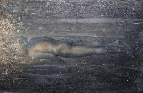 studio per Nuotatore d abissi 2010 olio su lino trasportato su tavola cm 47,5 x 73